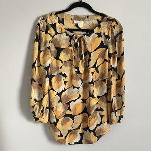 Yellow floral chiffon blouse size xs